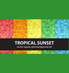square pattern set tropical sunset seamless vector image
