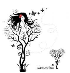 tree woman abstract vector image