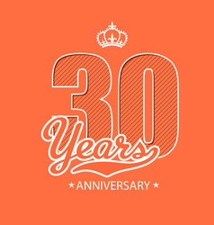 30 years anniversary crown red background i vector image