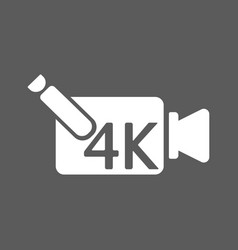 4k ultra hd video recorder icon isolated on vector