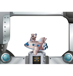 A metal frame with a robot above a spaceship vector image