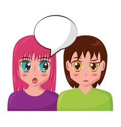 anime girls talking vector image