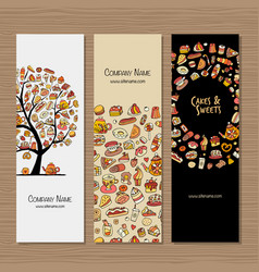 Banners design idea for sweets shop company vector
