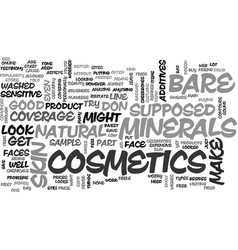 Bare minerals cosmetics text word cloud concept vector