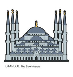 Blue mosque istanbul turkey flat icon vector