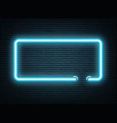 blue neon luminous signboard on grey realistic vector image