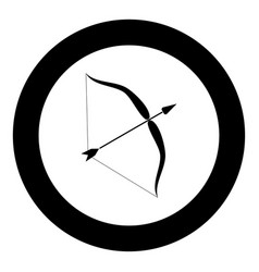 bow and arrow icon black color in circle vector image