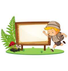 Boy scout and wooden banner vector