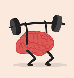 Brain lifting weights over head vector