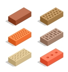 Bricks isolated on white Brick icon set Flat 3d vector