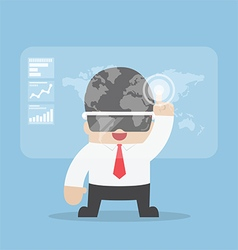 Businessman using virtual reality headset vector image