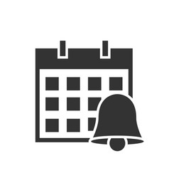 Calendar with bell black icon on white background vector
