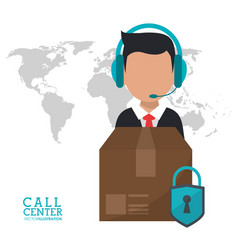 call center man delivery security support vector image
