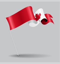canadian pin wavy flag vector image