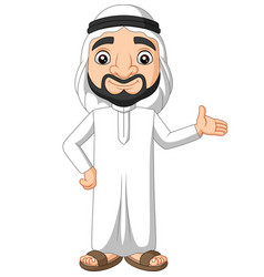 cartoon saudi arab man waving vector image