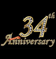 Celebrating 34th anniversary golden sign vector