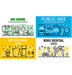 City rent a bike banner set outline style vector