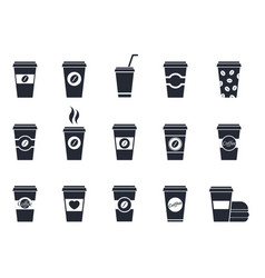 Coffee paper cup icons vector