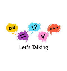 concept lets talking bright color dialog speech vector image