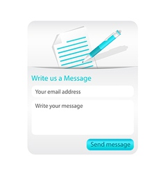 Contact form with light paper and blue ballpoint vector