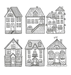 Cute little houses and different roofs doodle vector