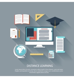 Distance learning with internet services concept vector