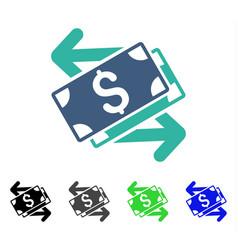 Dollar banknotes exchange flat icon vector