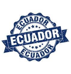 Ecuador round ribbon seal vector