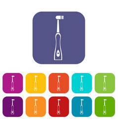 Electric toothbrush icons set vector