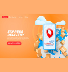 express delivery application smartphone service vector image