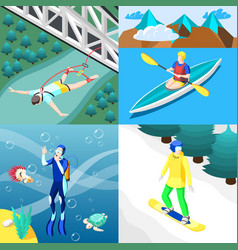extreme sports 2x2 design concept vector image