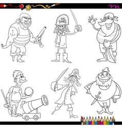 fantasy pirates cartoon coloring page vector image