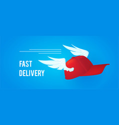 Fast delivery rad cap delivery man with wings vector