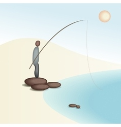 Fishing from the shore vector