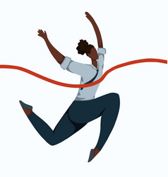 flat a running african business woman tearing vector image