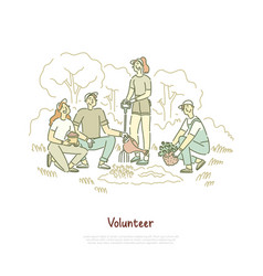 friends volunteers planting tree seedling vector image