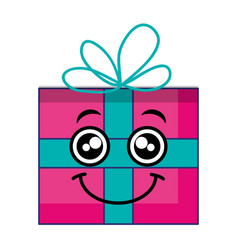 gift box presents kawaii character vector image