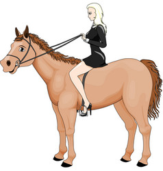 Girl riding horse vector