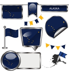 Glossy icons with Alaskan flag vector image