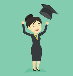 Graduate throwing up graduation hat vector