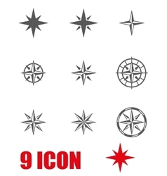 Grey wind rose icon set vector