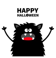 Happy halloween cute black silhouette monster vector