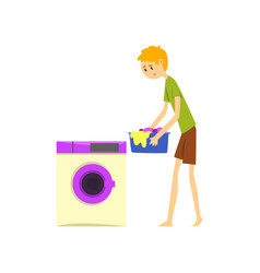 Henpecked man husband doing laundry househusband vector