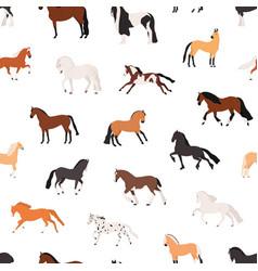 Horse breeding flat seamless pattern vector