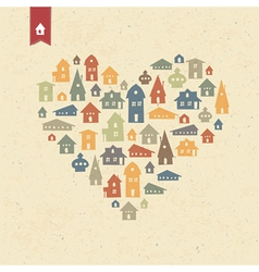 houses heart shaped vector image