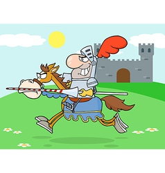 Knight Riding Horse In The Background vector