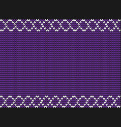 Knitted violet background with white weavy frame vector