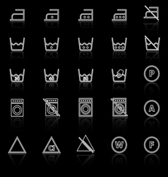 Laundry line icons with reflect on black vector