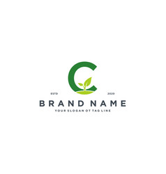 Leaf letter c logo design vector