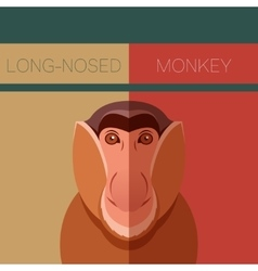 Long-nosed monkey flat postcard vector